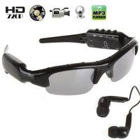 Vidéo HD Mini lunettes de soleil avec caméra sténopé CMOS galsses Caméscope cachée avec lecteur MP3 Vidéo enregistrement Photo prise Fonction