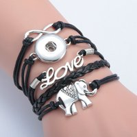 african elephant bracelet - Antique Charm Giraffe Elephant Infinity Braided Leather Bracelets Fashion Wrist Bands Jewellery hy148