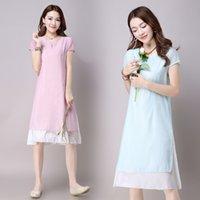 artistic materials - summer looser artistic style retro women girl dresses best cotton linen material embroider skirt for women