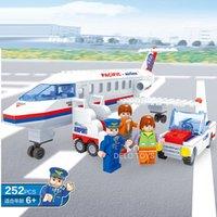Aeroplano juego Baratos-Delo toys Bloques de construcción de plástico juguetes de autoensamblaje para niños juego de avión juego sin caja de paquete JJ003041