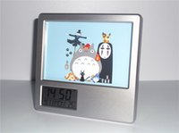 Wholesale New Totoro Ponyo Spirited Away Creative Digital Alarm Clock Multi function Desk Clock Calendar Pen Holder Photo Frame Alarm Clock