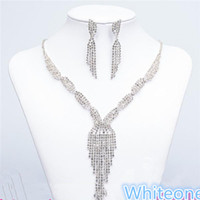 925 necklace - Luxury Tassel Necklace Drop Earrings Silver Rhinestone Crystal Women Bridal Bridesmaid Jewelry Set Wedding Jewellery Sets Cheap
