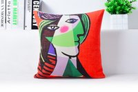 abstract faces art - Ink Green Face Beauty Abstract Picasso Pop Art Decorative Pillow Case Cover Euro Pillows Travel Emoji Home Decor Vintage Gift