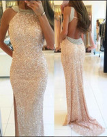 Wholesale Backless Sparkly Arabic Evening Dresses Beaded Sheath High Split Prom Formal Dresses Sexy Evening Gowns