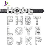 achat en gros de 8mm lettres de diapositives bracelet-130pcs 8mm Full strass diapositives Lettres