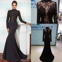 Wholesale 2016 Mermaid Evening Dresses Illusion Appliqued Beaded Lace Prom Gowns Black Sweep Train Plus Size Party Dress