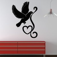 Cheap Cheapest Pigeon And Heart Wall Sticker Animal Living Room Decor Mural Vinyl Removable Home Decor