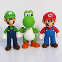 al por mayor pvc yoshi-El envío libre 3pcs / set Super Mario Bros Luis Mario Yoshi acción del PVC Figuras de juguete al por mayor de 13cm