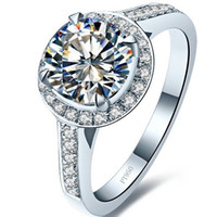 Wholesale 1 CT Excellent Round SONA Diamond Engagment Ring for Women Micro Paved T Brand Copy Sterling Silver in K White Gold Plated