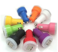 Wholesale Accessories Parts Chargers mini usb car charger chargers adapter two ports for iphone4 s ipad mobile phone