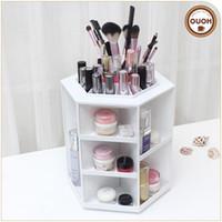 Wholesale creative gift degree rotating hexagonal cosmetics Storage Holders R can customize logo ECO friendly