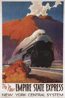 american express blue - 24X36 INCH ART SILK POSTER Empire State Express VINTAGE TRAIN POSTER Ragan United States