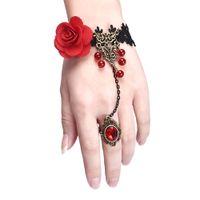 beautiful scary - Halloween Clothing Scary Costumes Beautiful Bead Handmade Retro Black Lace Vampire Slave Bracelets