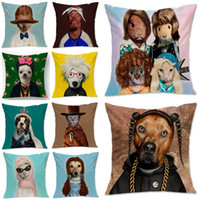 Wholesale New Animal Dog Cat Star Cosplay Cushion Cover Square cm Cotton Linen Throw Pillow Case Home Sofa Decor
