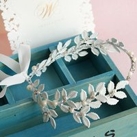 Wholesale White Leaf Headband Wedding Hair Accessories Jewelry Handmade Bridal Headpiece Crystal Pearl Headbands with ribbon