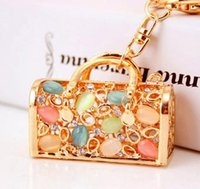Wholesale South Korea full diamond hollow opal bag ornaments key chain creative gifts to send his girlfriend859