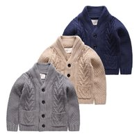 Wholesale Baby Toddler Boys Cardigan Sweater Autumn Winter Cotton Knit Coat Outwear Single Button Turn Down Collar Sweatshirt