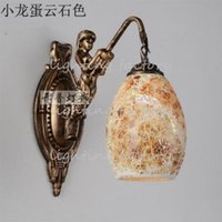 Wholesale European rural Mediterranean Mosaic bar corridor bedroom berth lamp mermaid background wall lamp