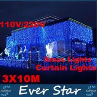 Haute Qualité 110V / 220V 1000 LED 10x3m Rideau net Chaîne Fée Lumière de soirée de mariage de Noël Décoration de Noël Lampe d'extérieur imperméable à l'eau