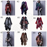 Wholesale Cashmere Scarf Patchwork Plaid Poncho cm Women Winter Cape Poncho Wrap Shawl Blanket Cloak colors OOA802