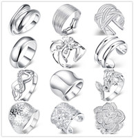Wholesale Mixed style sterling silver finger ring fashion unisex jewelry beautiful cute street style Top Quality