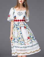 bell french - High Quality Summer Designer Dress Women s French Style Flare Sleeve Square Collar Embroidery Floral Printed Cutout Dress