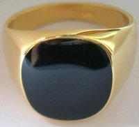 Wholesale SIZE Hot sale New K gold plated classic men rings black enamel painting jewelry fashion italina ring