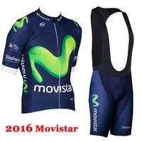 Prezzi Kit e bike-abbigliamento 2016 Movista Cycling Team e il trasporto in bicicletta Salopette Kit traspiranti Bike Abbigliamento Ropa Ciclismo pullover della bici sportivo libero