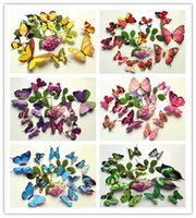 wall magnetic - Simulation Color Butterfly mounted magnetic butterfly brooch decorated living room bedroom wall stickers simulation Butterfly Stickers