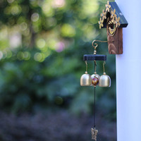 antique door chimes - Bird Nest Style Brass Bell Outdoor Wind Chimes Home Decoration Feng Shui Windchimes Hanging Door Chimes Christmas Birthday Gift