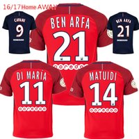 Wholesale Top Thai Away Red PSG maillot de foot Men Camiseta Shirts CAVANI Di Maria Verratti T SLIVA Ben Arfa David Luiz PASTORE Kit