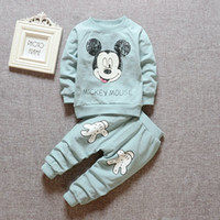 baby khaki pants - Pink blue khaki Mickey mouse Children clothes sets cartoon Baby boy Long sleeve sport sweater pant set toddler girl clothes korea autumn