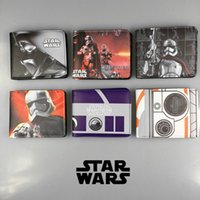 Unisex animations hop - DC Marvel Comics Wallets Cartoon Animation Star Wars White Soldiers Black Knight Wallet Short Purse Leather Card Holder Bags for Men Women
