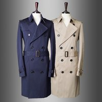 Wholesale Fall Autumn winter coats male clothes single breasted business trends in khaki English long trench coat