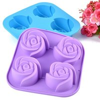 Wholesale 10pcs a cm making cake chocolate or soap square molds silicone flower cake moulds _F43
