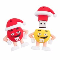 Wholesale Real GB GB GB Christmas M M Beans USB Flash Drive high speed Memory Stick USB Pen Drive Cartoon U disk