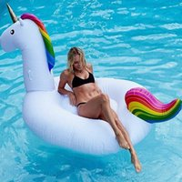 Wholesale 275cm inflatable Unicorn Rainbow Horse Giant Pool Float Swimming Float for Adult Tube Raft Kid Swim Ring Summer Water Fun Pool