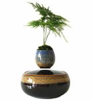 Wholesale 2016 Japanese High tech Magnetic Levitation Floating Flower Ceramics Glaze Bonsai Pots Flower Pots Christmas Gifts for Men No Plant D