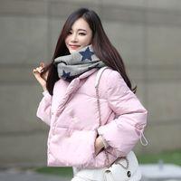 Wholesale 2016 Fashion Long Sleeve Winter Coats Down Jackets White Parka Warm Short Pure Color Figure Outwear