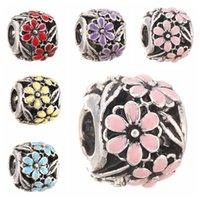 big beaded bracelets - Hollow DIY Beaded Jewelry Accessories Alloy Big Hole Loose Beads flower glass Bead Charms Fit Pandora Bracelet Necklaces