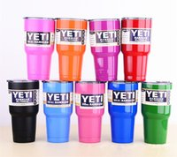Wholesale 9 oz YETI Rambler Tumbler Cup Purple Pink Blue Light Blue Orange Light Green Stainless Steel Tumbler Mug IN STOCK