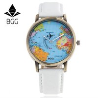 analog jeans - 2017 watch present BGG Brand World Map Plane Watch Casual Women Men Jeans Quartz Watch Relojes Mujer Relogio Feminino Gift