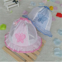Wholesale Han Edition Baby Girl Summer Net Cap Baby Basin Cap Topi Butterfly Style Baby Hat Drop Shipping