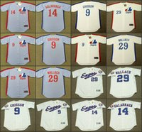 baseball montreal - Men MARQUIS GRISSOM ANDRES GALARRAGA TIM WALLACH Montreal Expos Cooperstown Away Baseball Jersey stitched