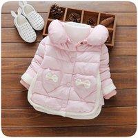 Wholesale 2016 winter new children girls love exquisite bow hand pocket stuffed cotton thick cotton