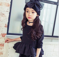Wholesale SD1027 Fashion Autumn Korean Style Girls T Shirts Soild Color Hem Side Pleated O Neck Long Sleeve Cozy Casual Streetwear Tops