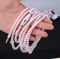 Wholesale Luxury Bling Diamond earphone Pearl Necklace Chain In Ear Earphone Stereo With Mic For iphone s samsung Microphone