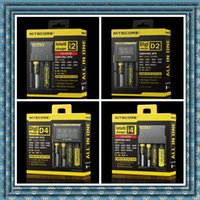 Cheap 100% Original Authentic Nitecore I2 I4 D2 D4 Universal Intelli charger LCD Display 18350 18650 battery Charger for ipv d5 ipv 5 box mod DHL