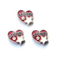 Wholesale friends in red heart with white star charms floating charms for living locket