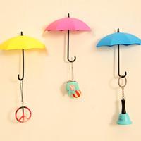 adhesive mounting squares - 3pcs Fashion Umbrella Shape wall hooks Self Adhesive Wall mount Door Hook Hanger Bag Key holder Keyring gift home decor